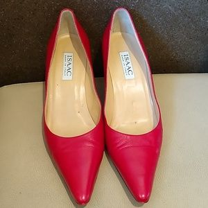 Isaac Italian Red Leather Kitten Heel Pumps, Sz 9M